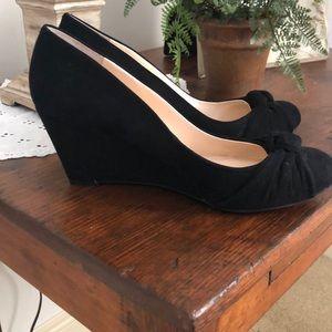 Jessica Simpson black velvet wedges
